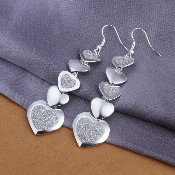 Vienna Jewelry Sterling Silver Drop Multi Hearts Earring