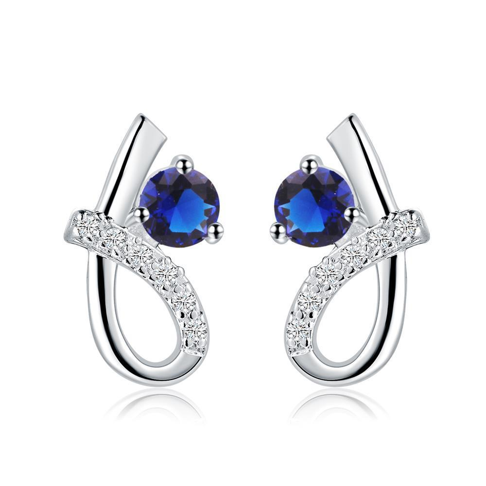 Vienna Jewelry Sterling Silver Curved Sapphire Gem Earring