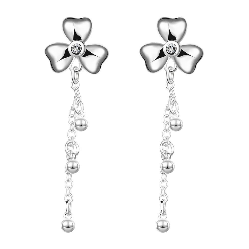 Vienna Jewelry Sterling Silver Clover Drop Earring