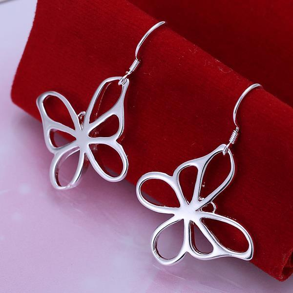 Vienna Jewelry Sterling Silver Hollow Flying Butterfly Earring
