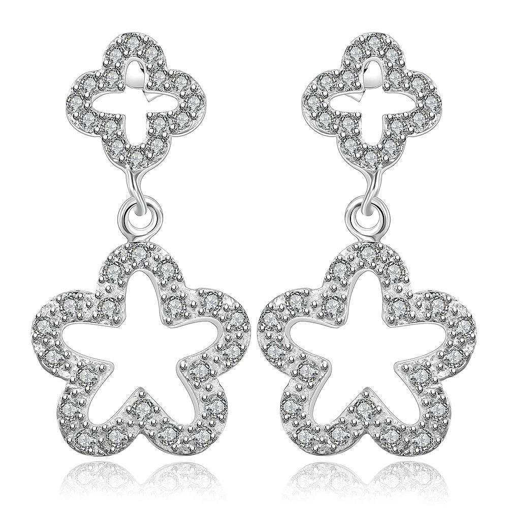 Vienna Jewelry Sterling Silver Hollow Duo-Stars Earring