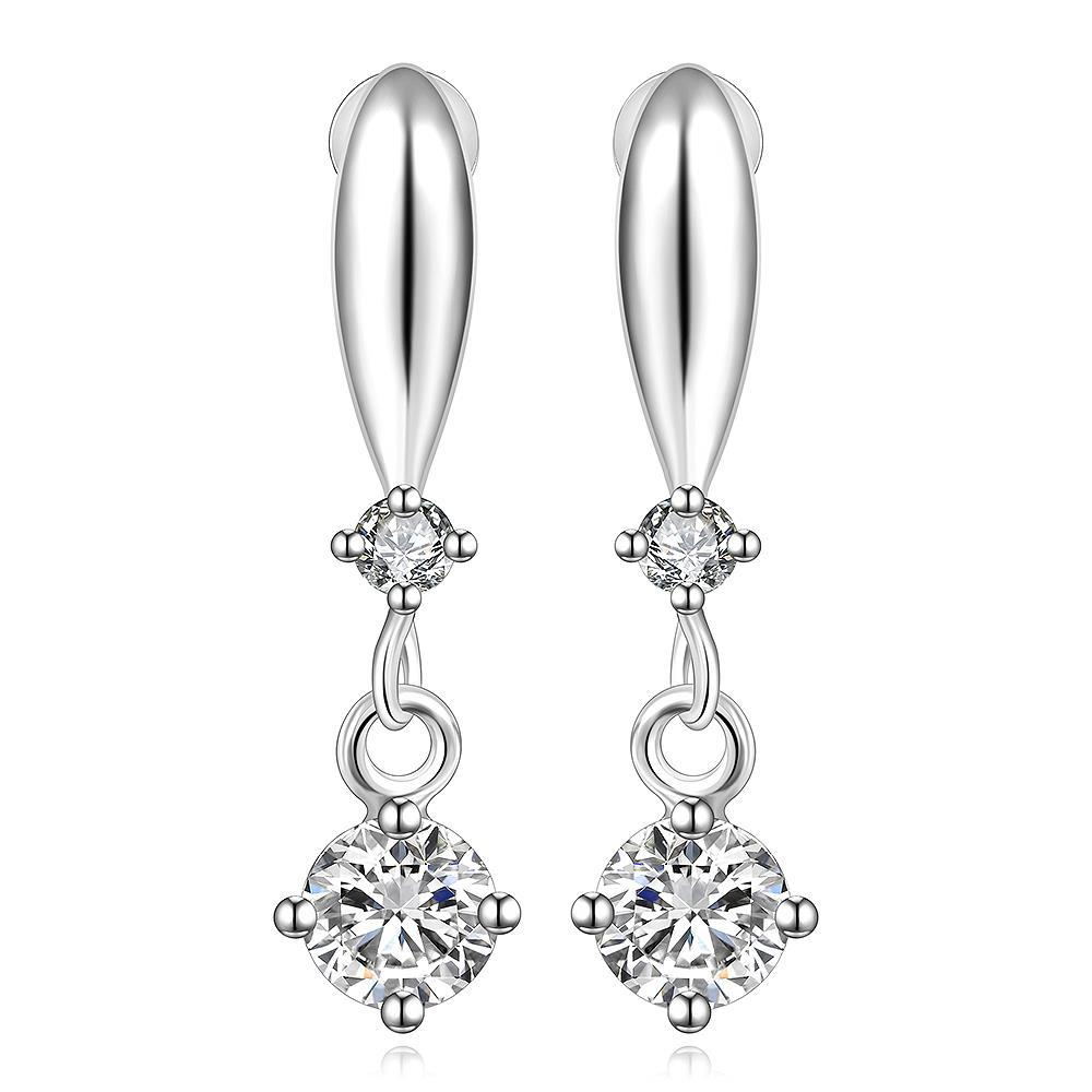 Vienna Jewelry Sterling Silver Crystal Stone Gem Vertical Drop Earring