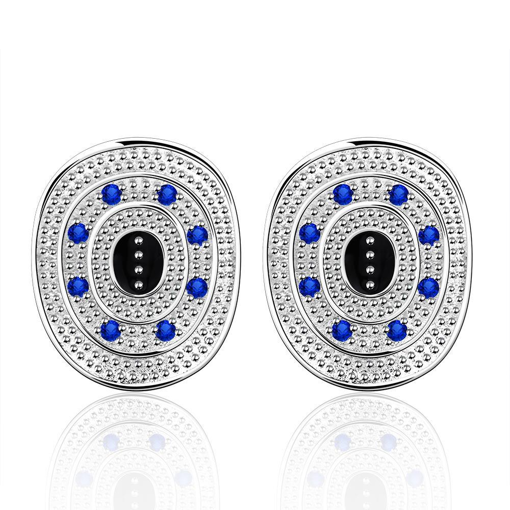 Vienna Jewelry Sterling Silver Ancient Emblem with Sapphire Crystal Stud Earring