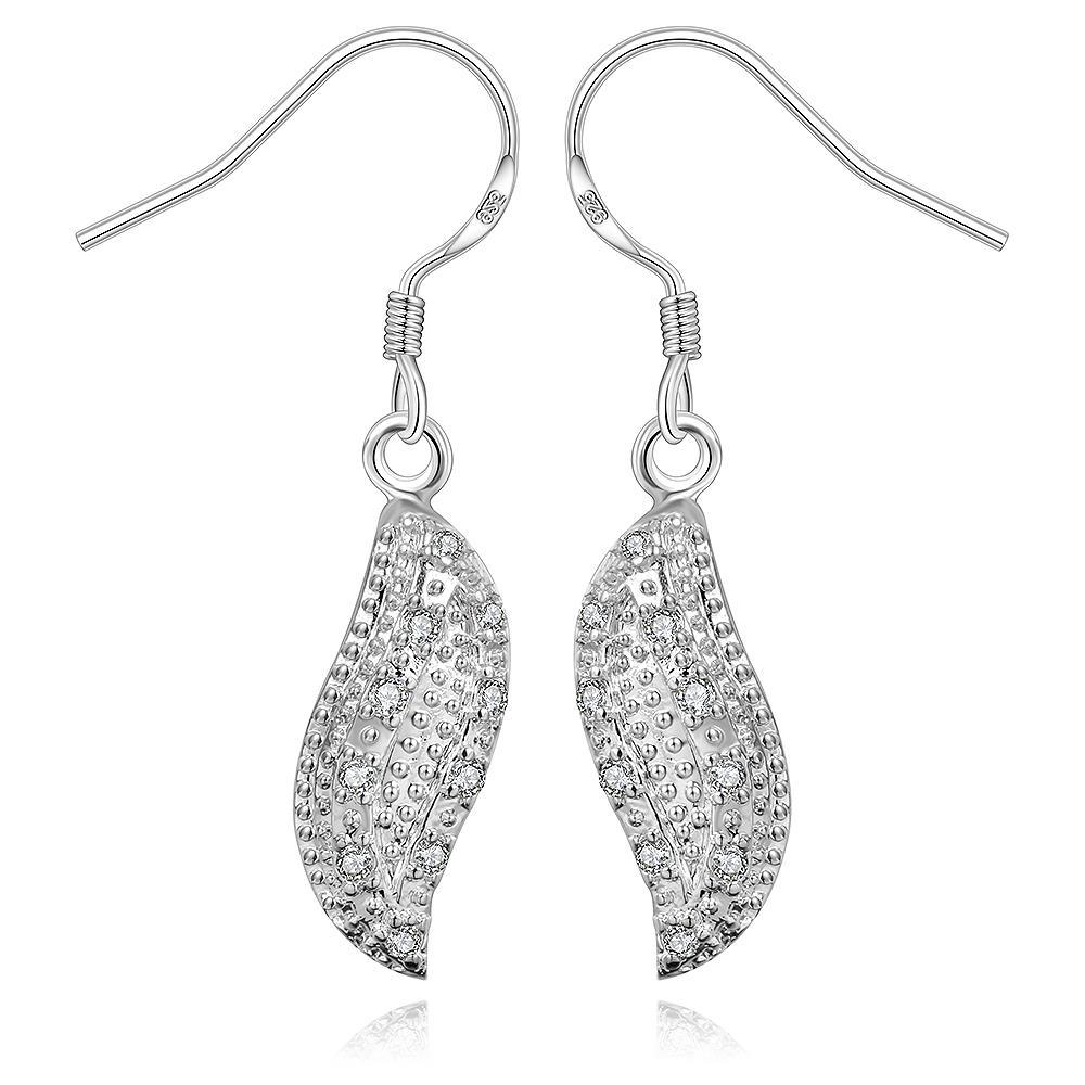 Vienna Jewelry Sterling Silver Crystal Lining Floral Leaf Drop Earring