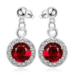 Vienna Jewelry Sterling Silver Circular Ruby Pendant Drop Earring - Thumbnail 0
