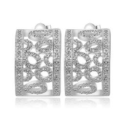 Vienna Jewelry Sterling Silver Laser Cut Floral Orchid Earring - Thumbnail 0