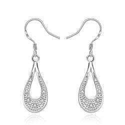Vienna Jewelry Sterling Silver Curved Hoop Drop Earring - Thumbnail 0