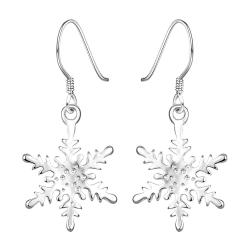 Vienna Jewelry Sterling Silver Snowflake Design Classic Earring - Thumbnail 0