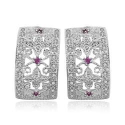 Vienna Jewelry Sterling Silver Rectangle Stones Crystal Inlay Earring - Thumbnail 0