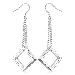 Vienna Jewelry Sterling Silver Drop Hollow Square Shaped Earring - Thumbnail 0