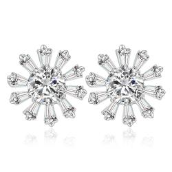 Vienna Jewelry Sterling Silver Blossoming Snowflake Earring - Thumbnail 0