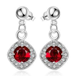 Vienna Jewelry Sterling Silver Ruby Gem Classical Drop Drop Earring - Thumbnail 0