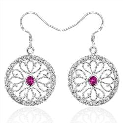 Vienna Jewelry Sterling Silver Laser Cut Floral Design Drop Earring - Thumbnail 0