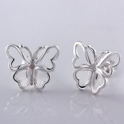 Vienna Jewelry Sterling Silver Hollow Flying Butterfly Stud Earring - Thumbnail 0