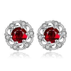 Vienna Jewelry Sterling Silver Ruby Gem Spiral Design Stud Earring - Thumbnail 0