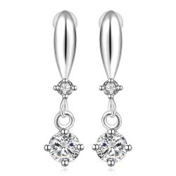 Vienna Jewelry Sterling Silver Crystal Stone Gem Vertical Drop Earring - Thumbnail 0