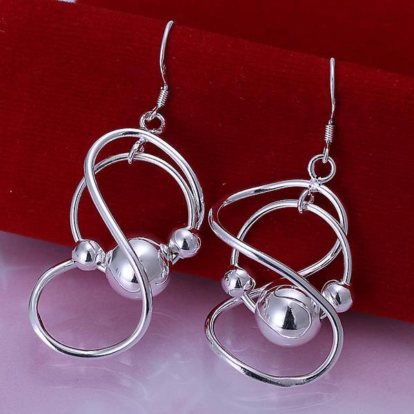 Vienna Jewelry Sterling Silver Abstract Curved Circular Drop Earring
