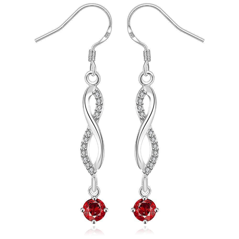 Vienna Jewelry Sterling Silver Thin Line Vertical Ruby Drop Earring