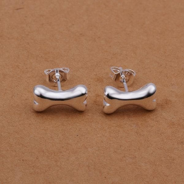 Vienna Jewelry Sterling Silver Wishbone Dog Stud Earring