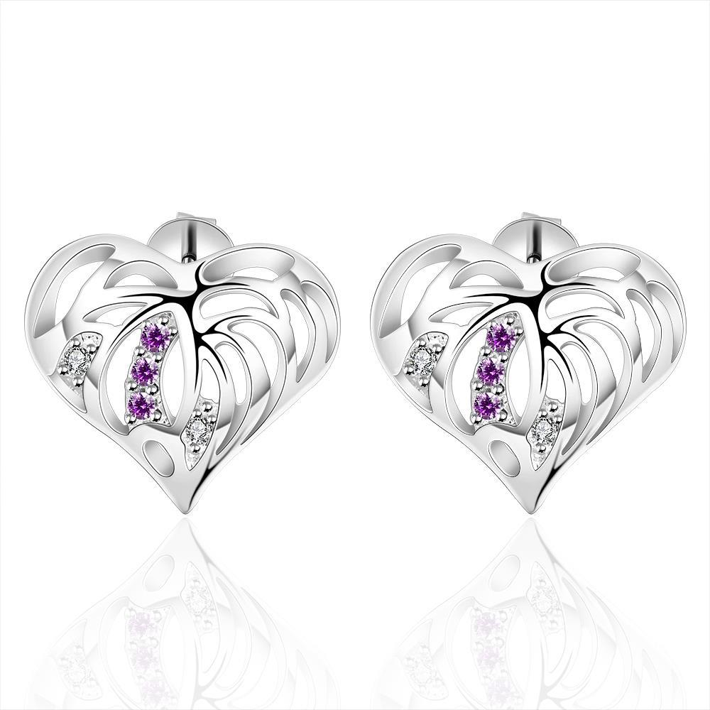 Vienna Jewelry Sterling Silver Hollow Laser Cut Heart Purple Citrine Stud Earring - Thumbnail 0