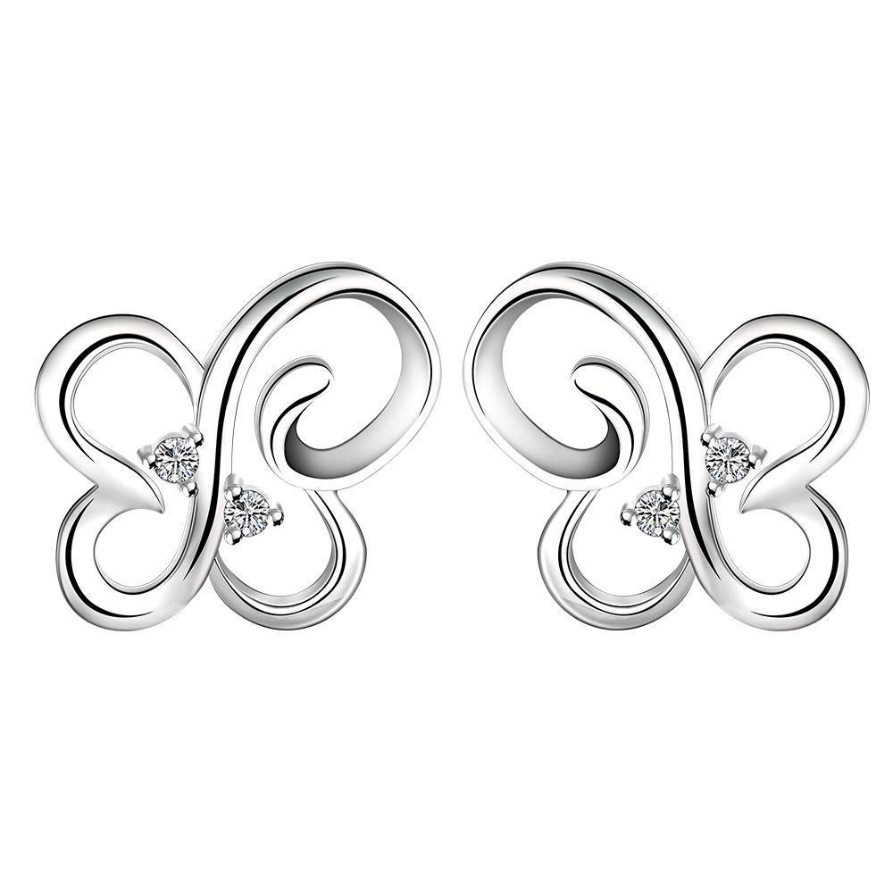 Vienna Jewelry Sterling Silver Hollow Butterfly Stud Earring