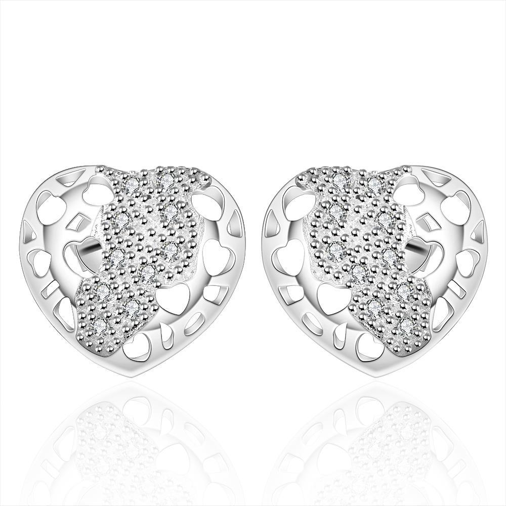 Vienna Jewelry Sterling Silver Laser Cut Stud Heart Earring