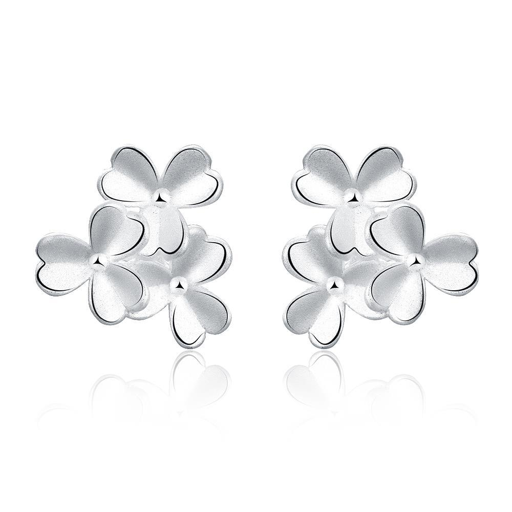 Vienna Jewelry Sterling Silver Trio-Clover Petal Stud Earring