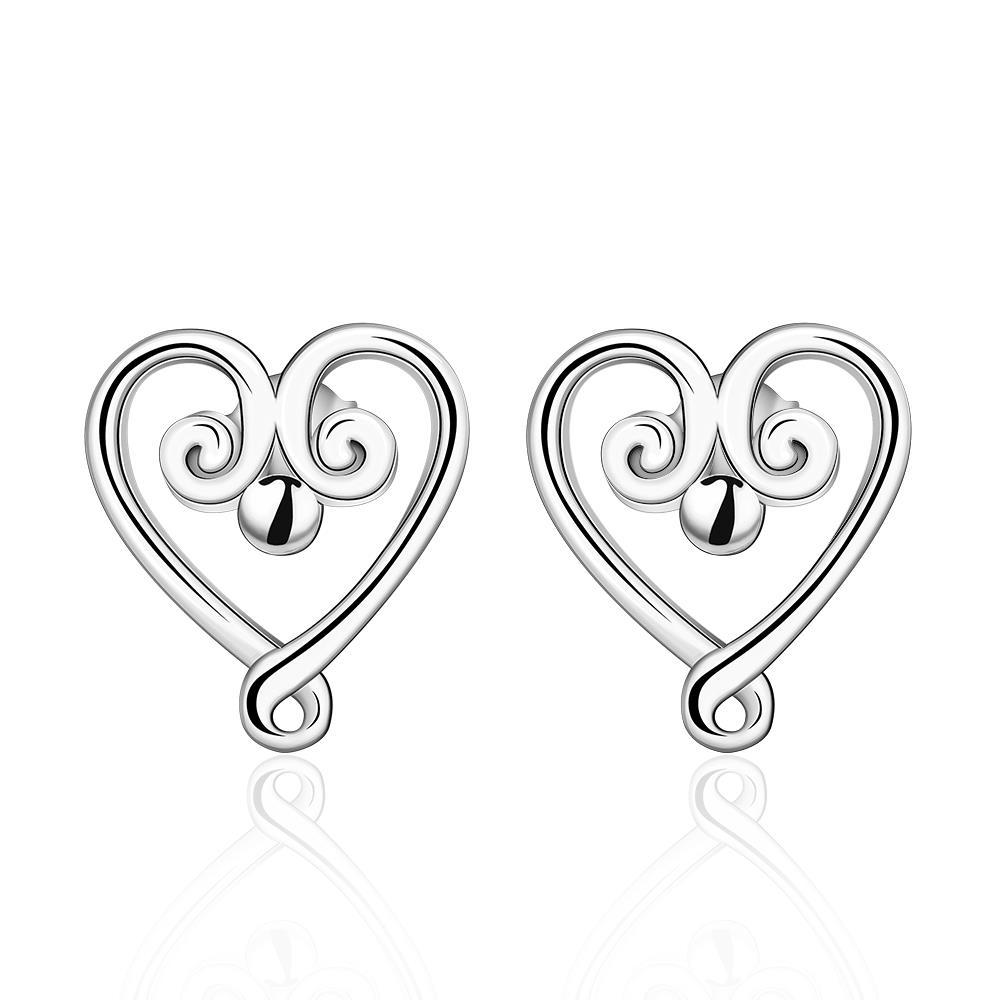 Vienna Jewelry Sterling Silver Pearl Curved Heart Shaped Earring