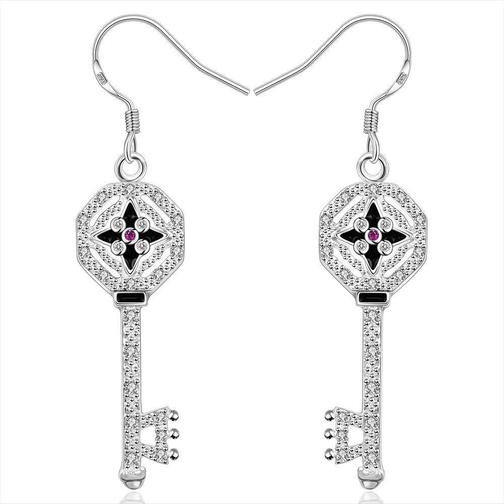 Vienna Jewelry Sterling Silver Drop Door Key Earring