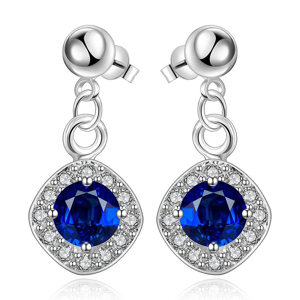 Vienna Jewelry Sterling Silver Sapphire Gem Classical Drop Earring