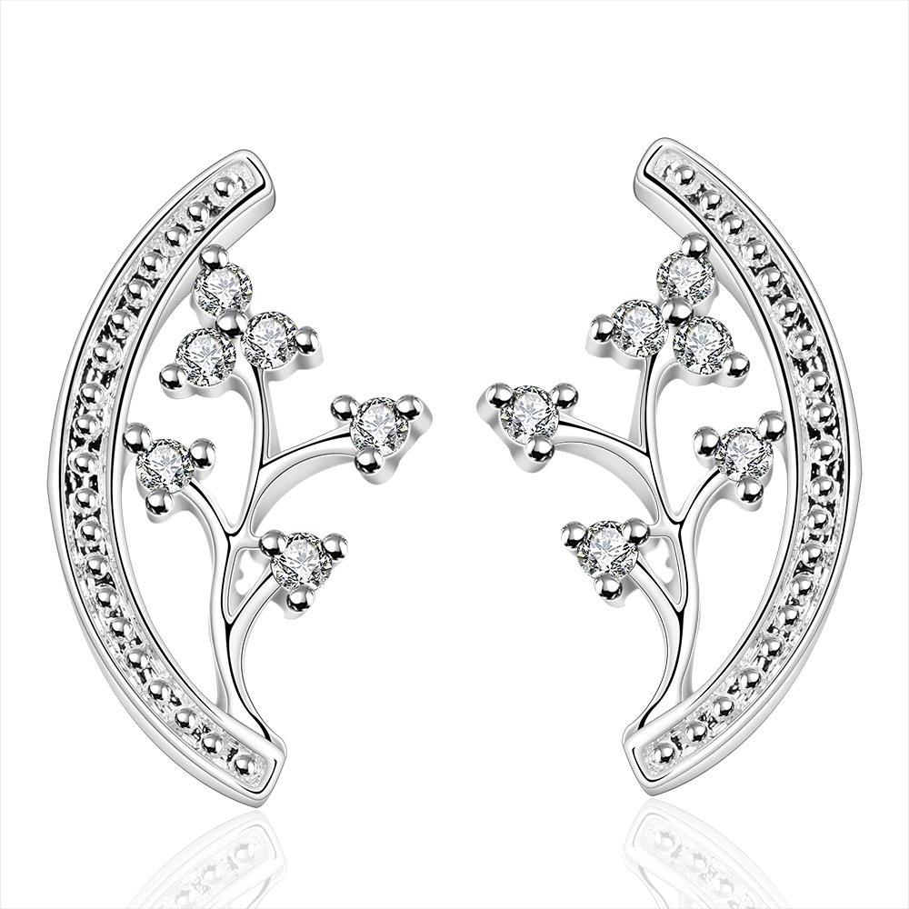 Vienna Jewelry Sterling Silver Floral Orchid Stud Earring