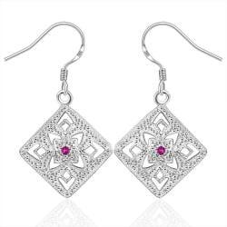 Vienna Jewelry Sterling Silver Laser Cut Diamond Shaped Earring - Thumbnail 0
