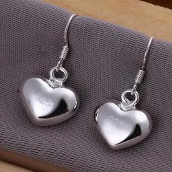Vienna Jewelry Sterling Silver Heart Shaped Drop Earring - Thumbnail 0