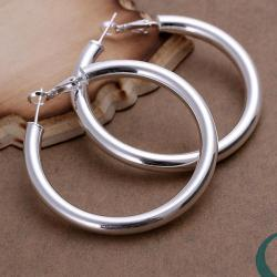 Vienna Jewelry Sterling Silver London Inspired Hoops - Thumbnail 0