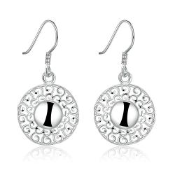 Vienna Jewelry Sterling Silver Laser Cut Bead Drop Earring - Thumbnail 0