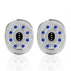 Vienna Jewelry Sterling Silver Ancient Emblem with Sapphire Crystal Stud Earring - Thumbnail 0