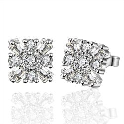 Vienna Jewelry Sterling Silver Blossoming Crystal Stud Earring - Thumbnail 0