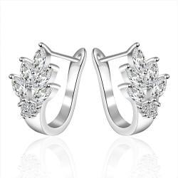 Vienna Jewelry Sterling Silver Leaf Twist Earring - Thumbnail 0
