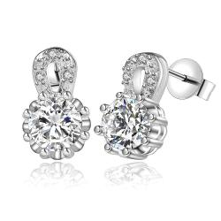 Vienna Jewelry Sterling Silver Crystal Stone Drop Earring - Thumbnail 0