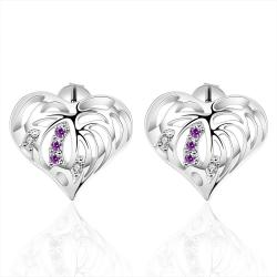 Vienna Jewelry Sterling Silver Hollow Laser Cut Heart Purple Citrine Stud Earring - Thumbnail 0