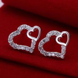 Vienna Jewelry Sterling Silver Double Hearts Stud Earring - Thumbnail 0