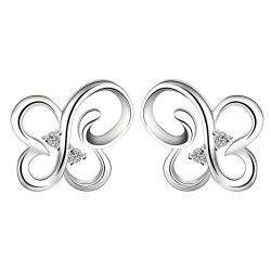 Vienna Jewelry Sterling Silver Hollow Butterfly Stud Earring - Thumbnail 0