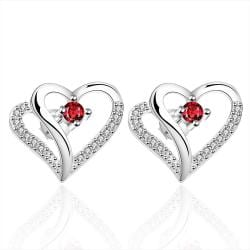 Vienna Jewelry Sterling Silver Double Heart Ruby Gem Earring - Thumbnail 0