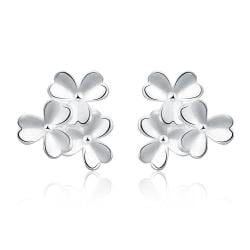 Vienna Jewelry Sterling Silver Trio-Clover Petal Stud Earring - Thumbnail 0