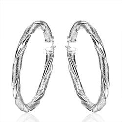 Vienna Jewelry Sterling Silver Intertwined Classical Hoop Earring - Thumbnail 0