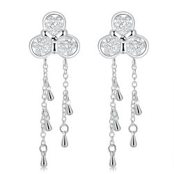 Vienna Jewelry Sterling Silver Clover Pendant Drop Earring - Thumbnail 0