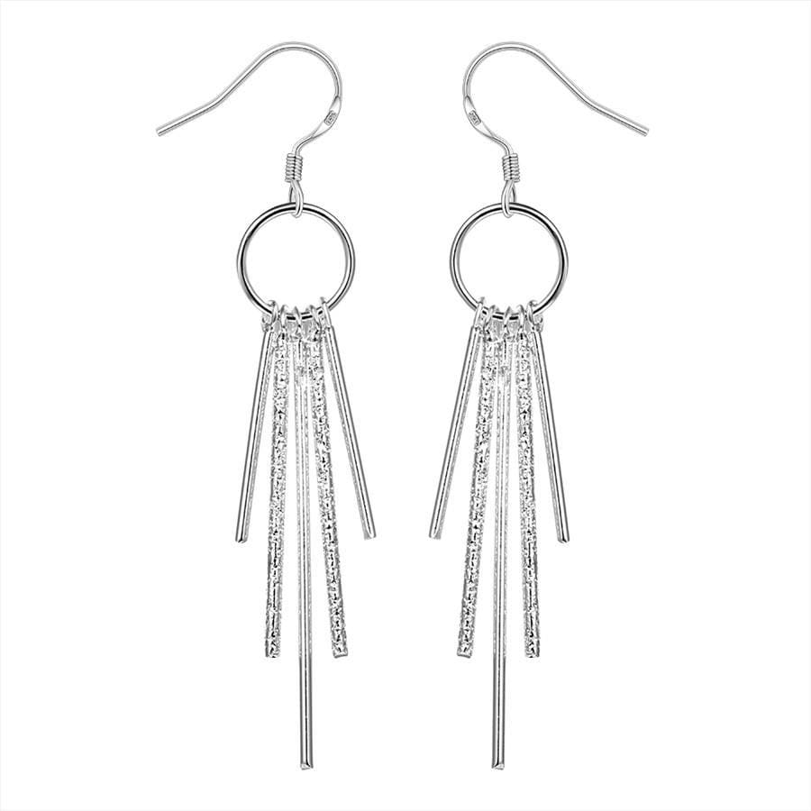 Vienna Jewelry Sterling Silver Drop Crystals Earring