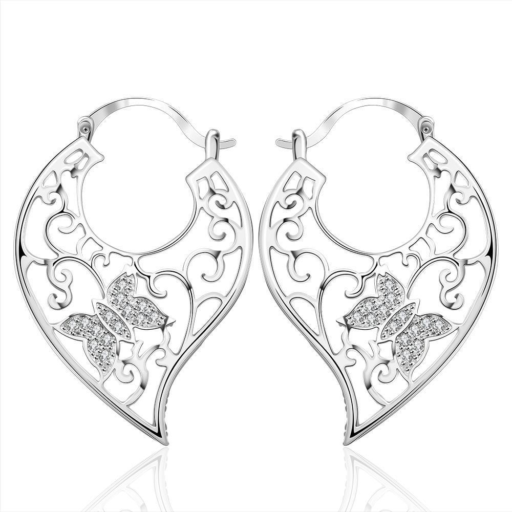 Vienna Jewelry Sterling Silver Crystal Butterfly Hoop Earring