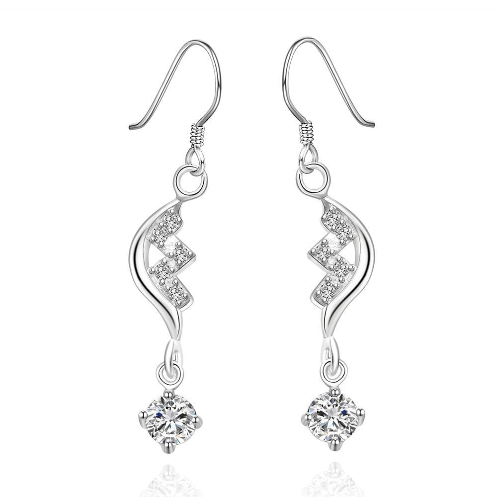 Vienna Jewelry Sterling Silver Crystal Curved Stones Drop Earring