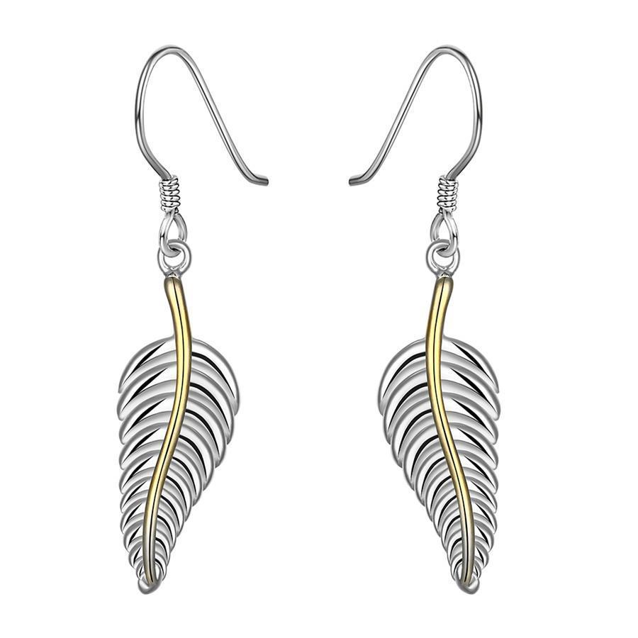 Vienna Jewelry Sterling Silver Modern Leaf Branch Drop Earring